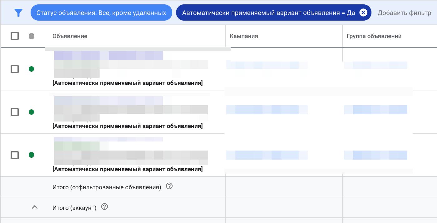 Заработали автоматические варианты объявлений в Google Ads для текстов на русском языке